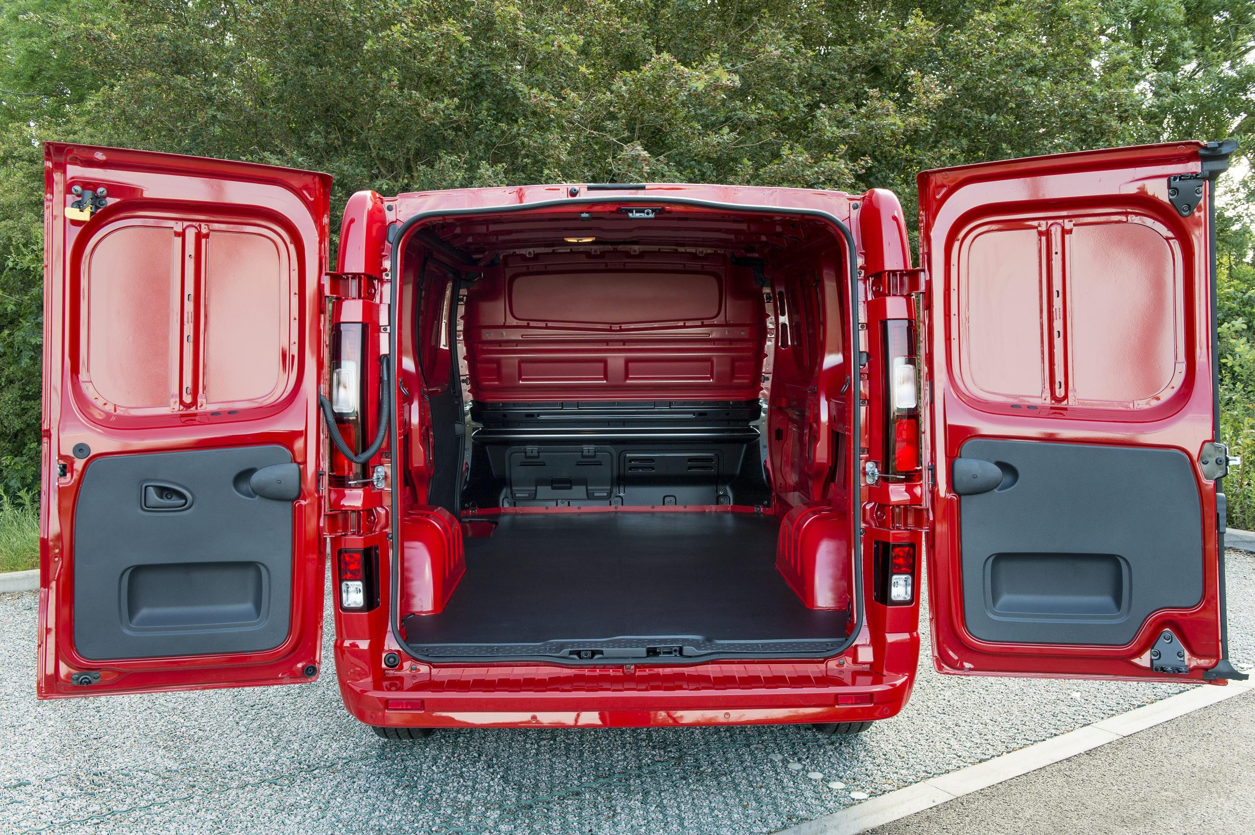 Rear shot of red Vauxhall Vivaro with both doors open