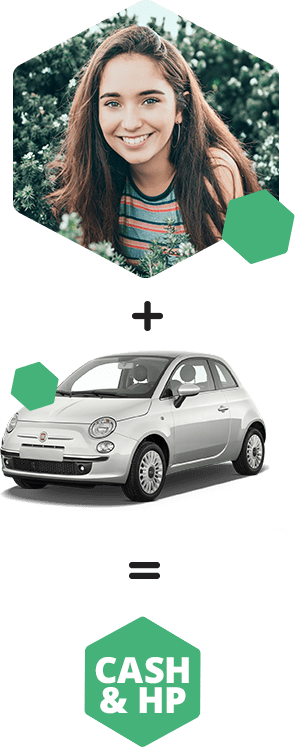 Picture of Alice and her ideal car, a Fiat 500