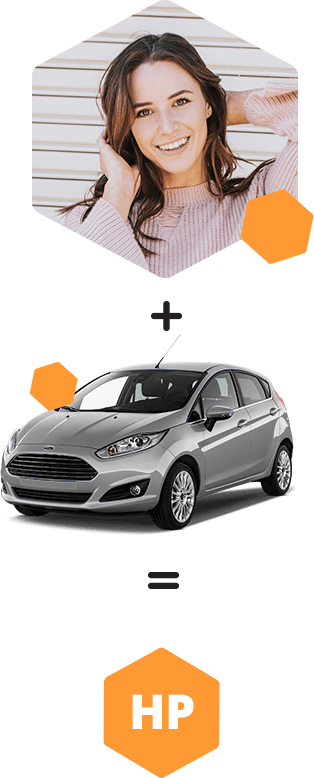 Picture of Jane and her ideal car, a Ford Fiesta
